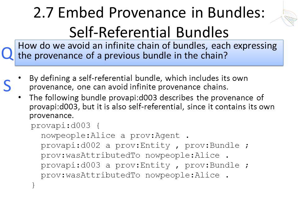 2.7 Embed Provenance in Bundles: Self-Referential Bundles