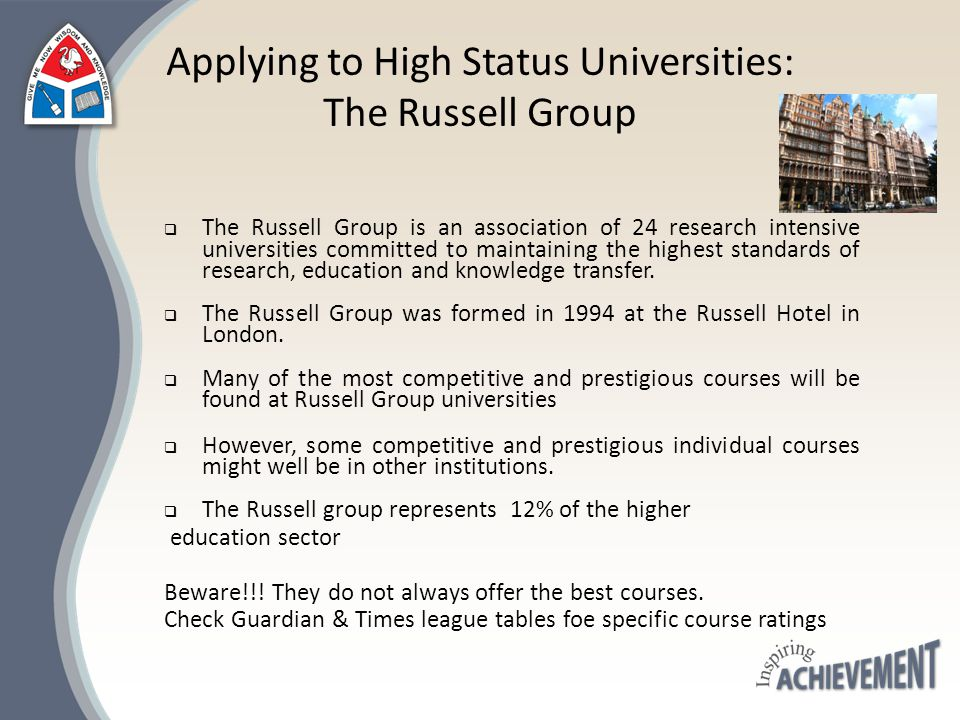 The Russell Group Universities