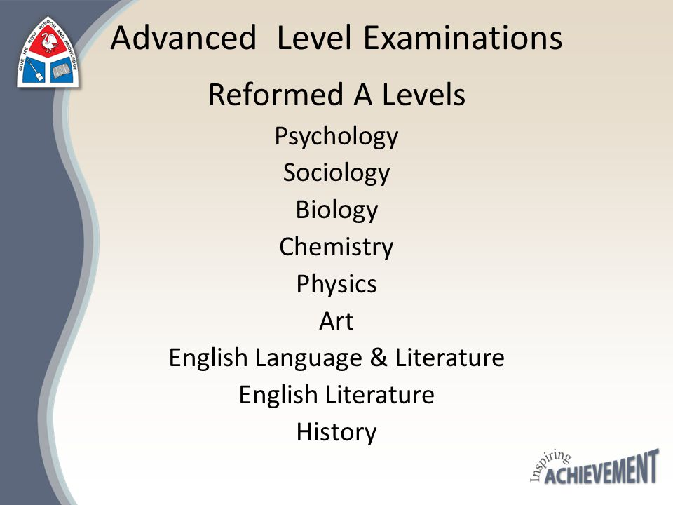 Reformed A Levels