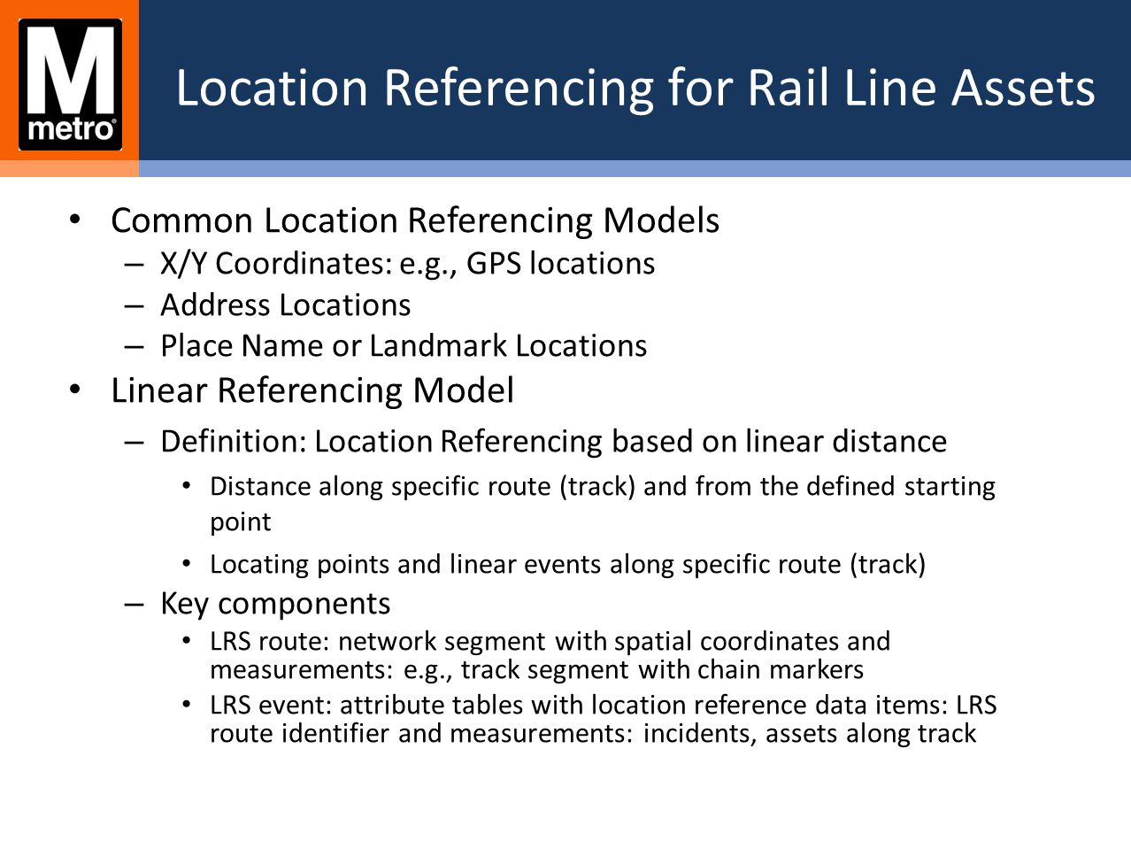 Location Referencing for Rail Line Assets