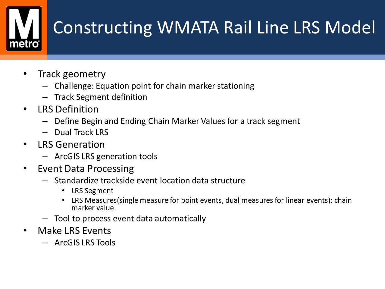 Constructing WMATA Rail Line LRS Model