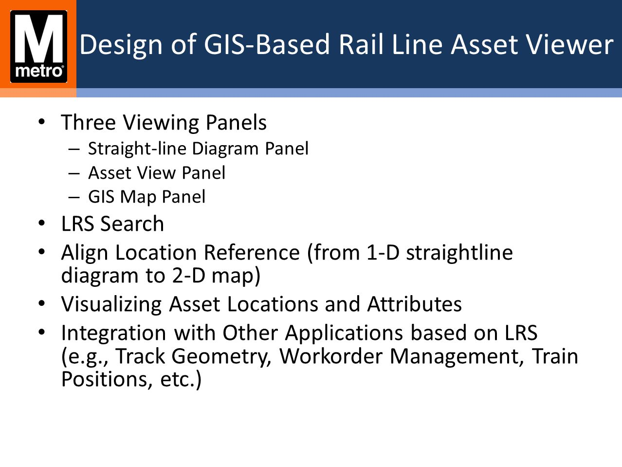 Design of GIS-Based Rail Line Asset Viewer