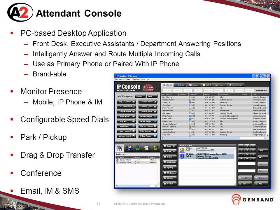 Attendant Console PC-based Desktop Application Monitor Presence