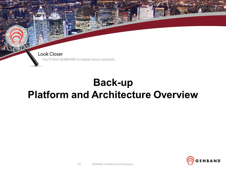 Back-up Platform and Architecture Overview