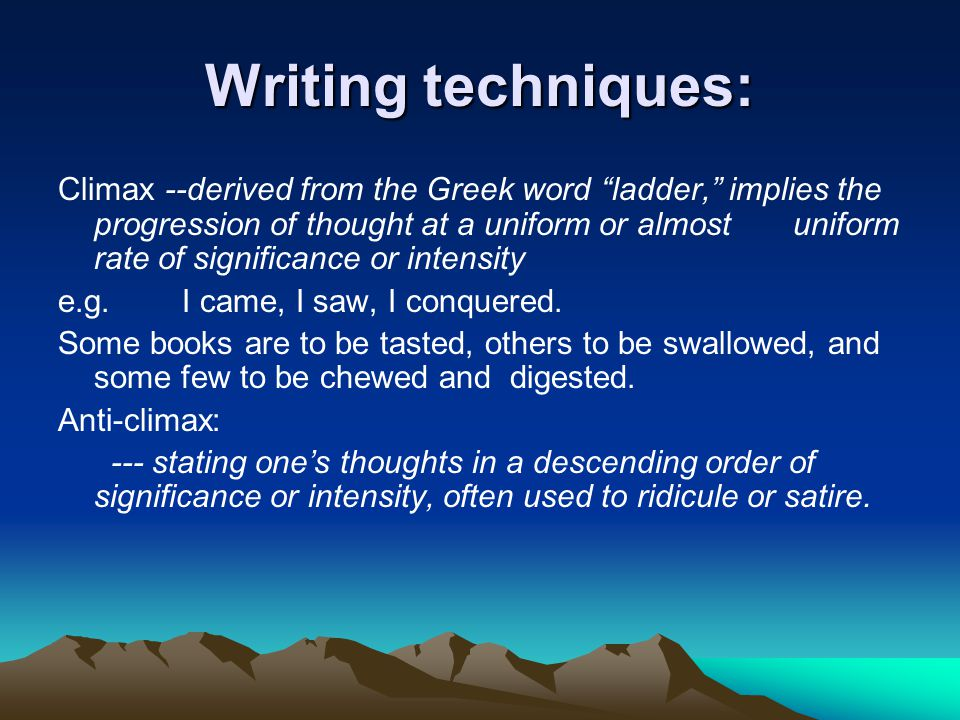 Writing techniques: