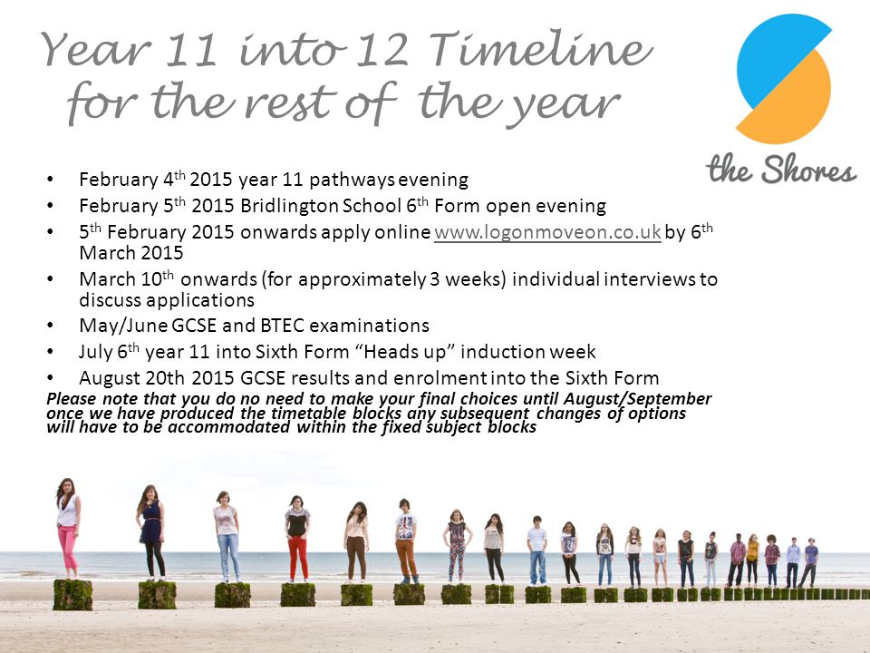 Year 11 into 12 Timeline for the rest of the year