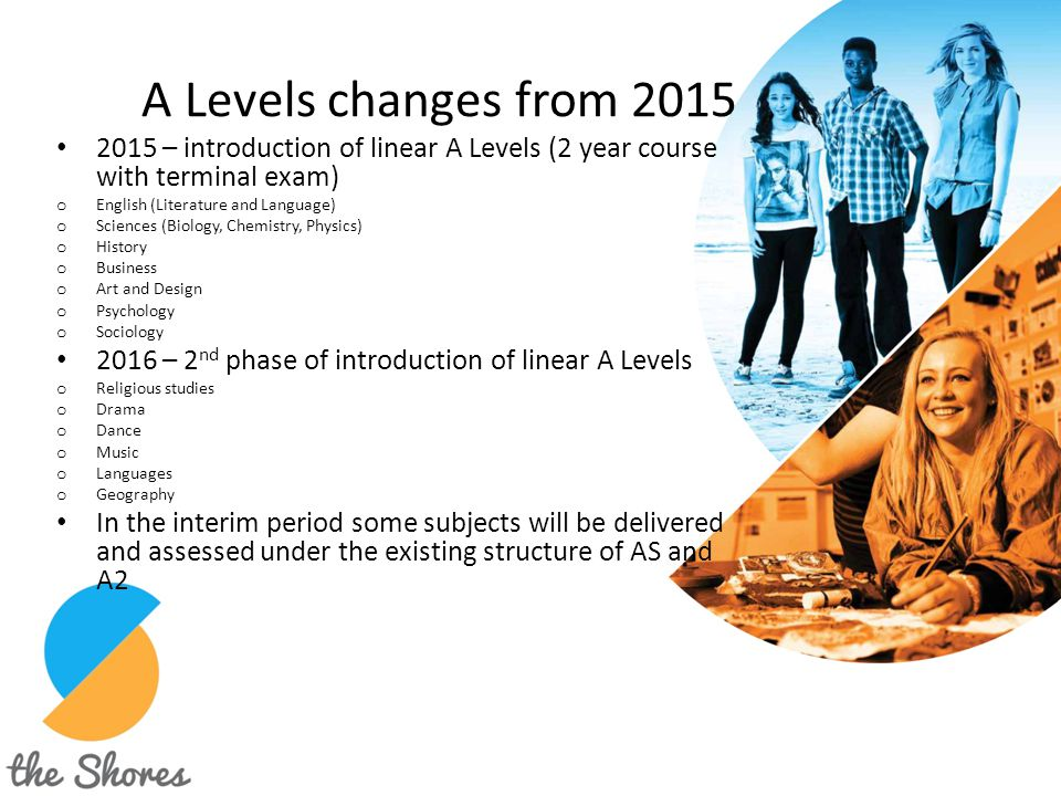 A Levels changes from 2015 2015 – introduction of linear A Levels (2 year course with terminal exam)