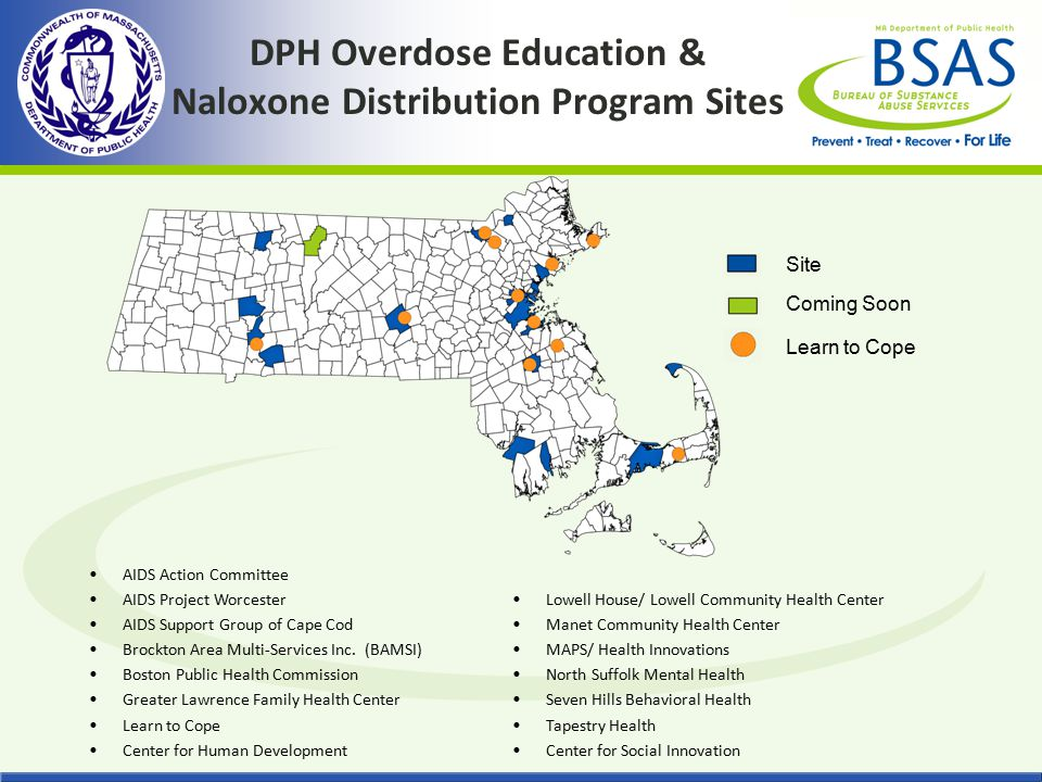 DPH Overdose Education & Naloxone Distribution Program Sites