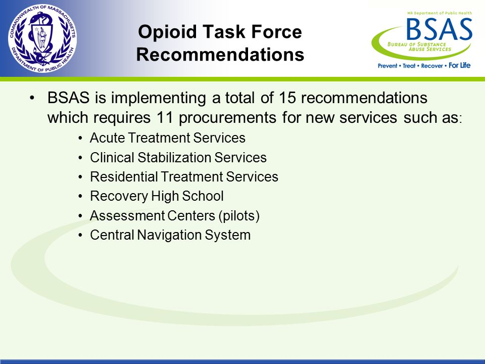 Opioid Task Force Recommendations