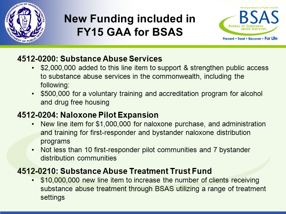New Funding included in FY15 GAA for BSAS