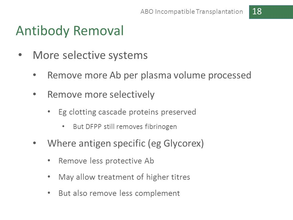 Antibody Removal More selective systems