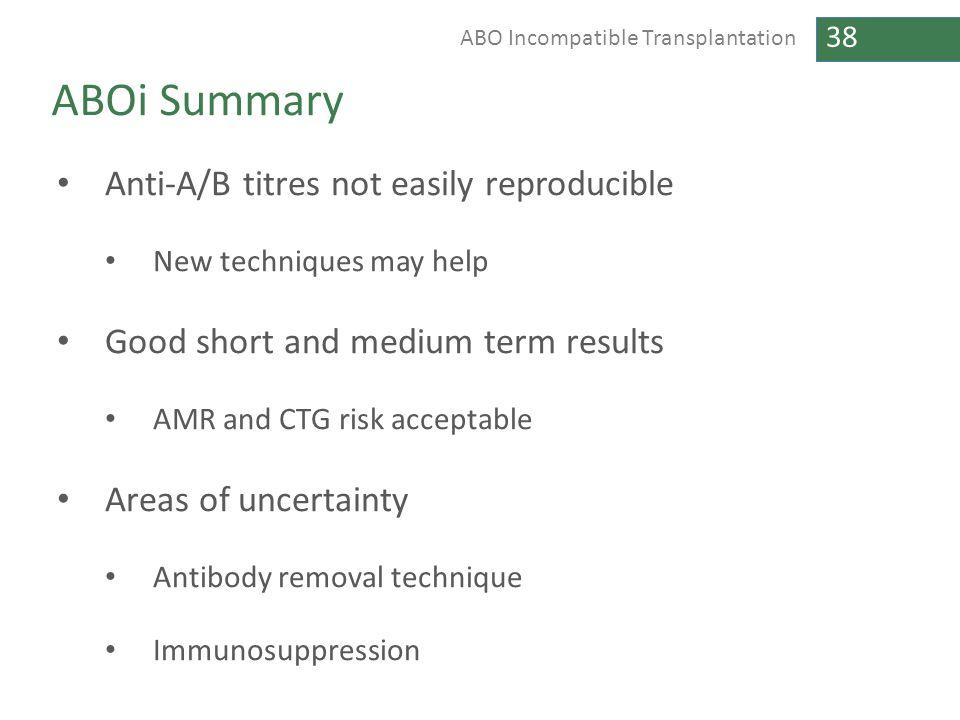 ABOi Summary Anti-A/B titres not easily reproducible