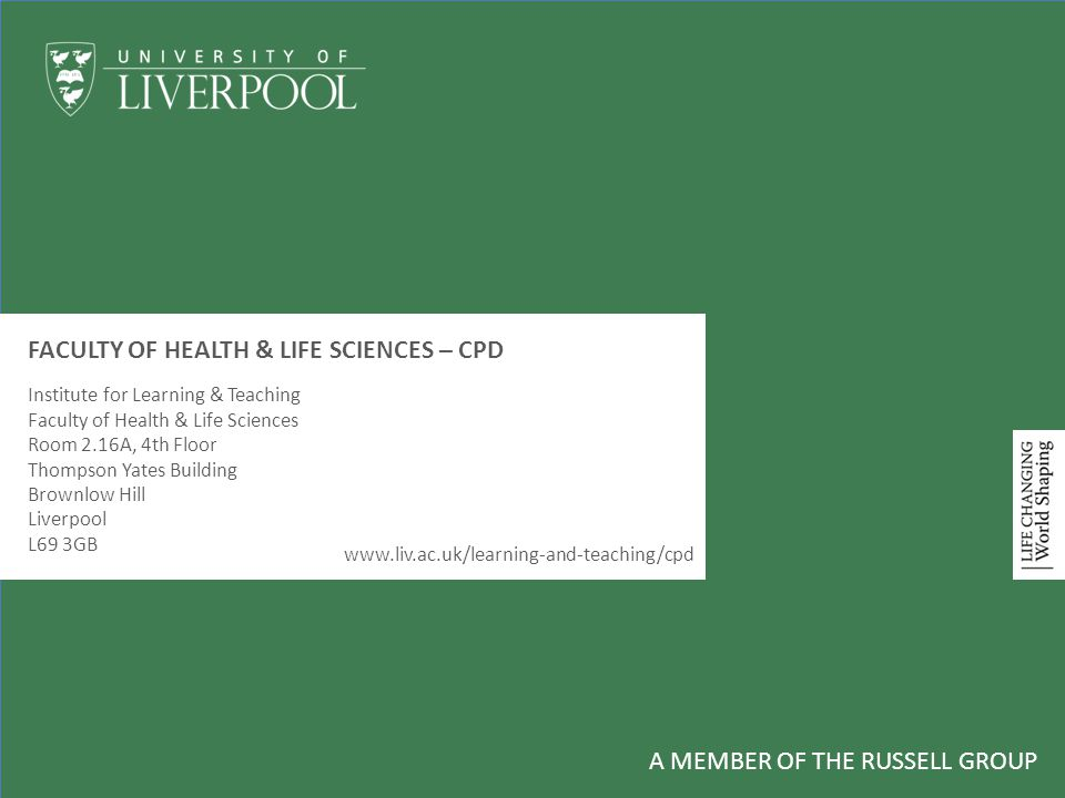 FACULTY OF HEALTH & LIFE SCIENCES – CPD