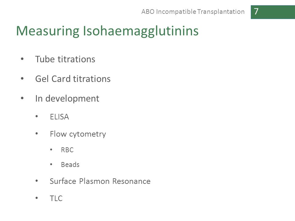 Measuring Isohaemagglutinins