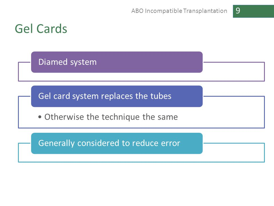 Gel Cards Diamed system Gel card system replaces the tubes