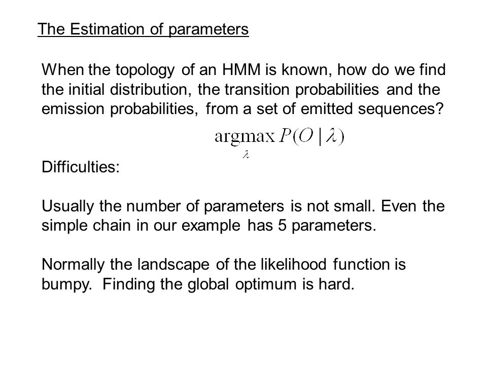 The Estimation of parameters