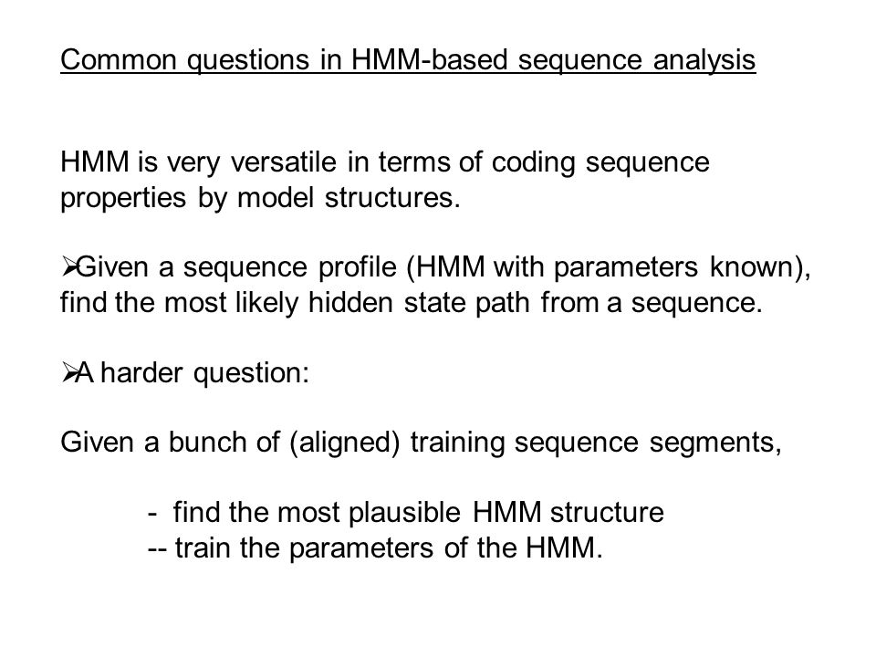 Common questions in HMM-based sequence analysis