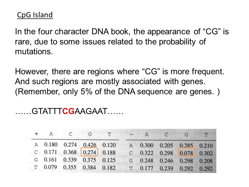 CpG Island In the four character DNA book, the appearance of CG is rare, due to some issues related to the probability of mutations.