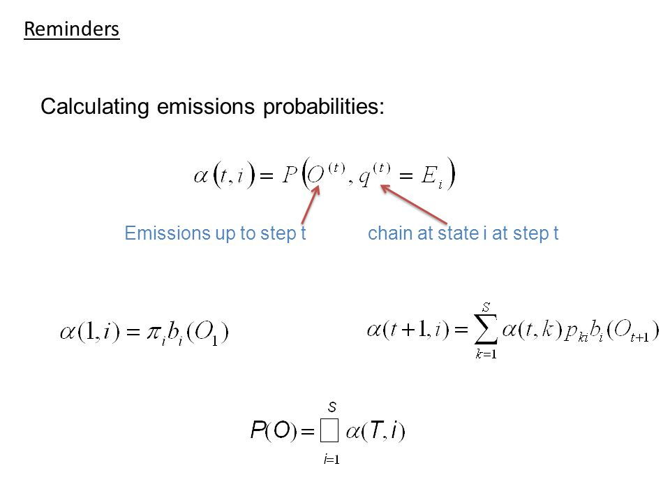 Calculating emissions probabilities: