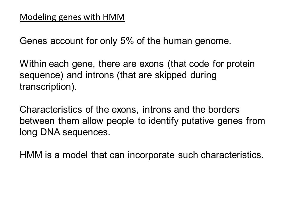 Modeling genes with HMM