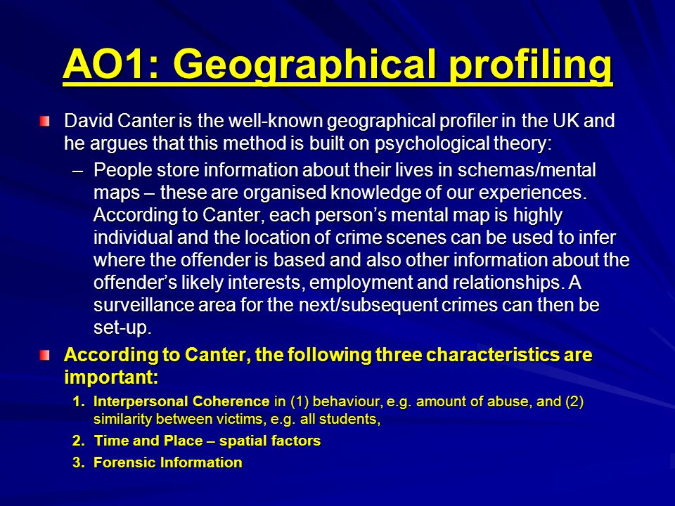 AO1: Geographical profiling