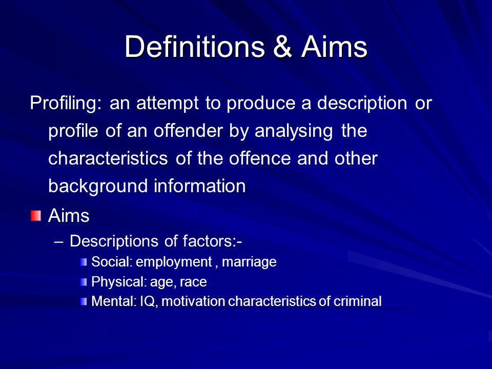 Definitions & Aims