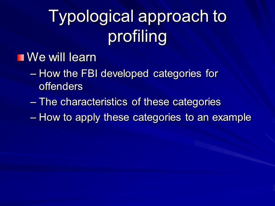 Typological approach to profiling