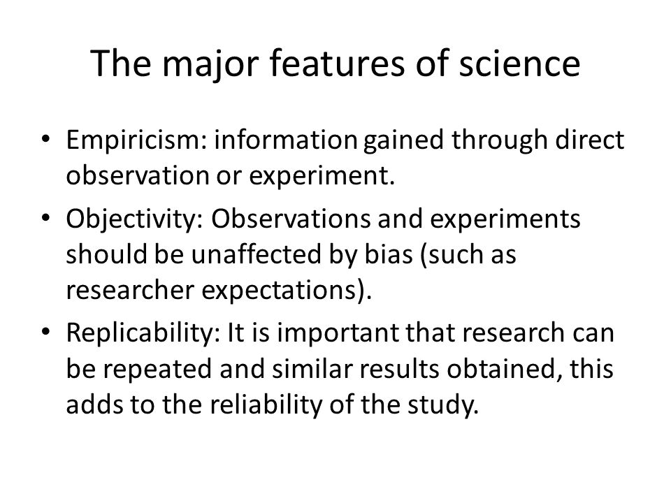 The major features of science
