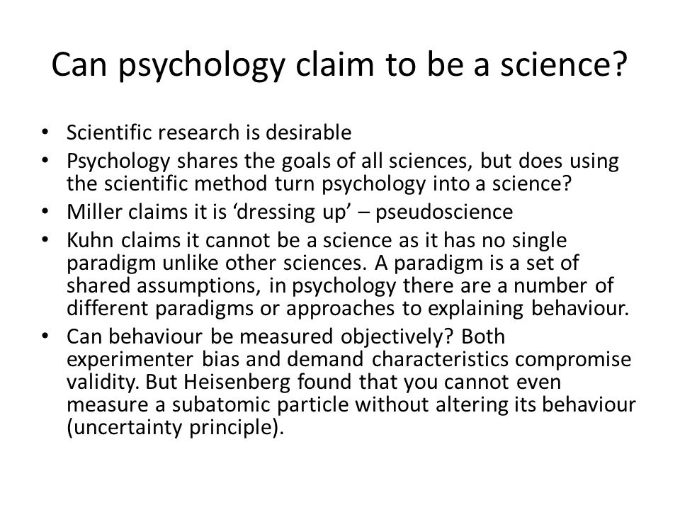 Can psychology claim to be a science