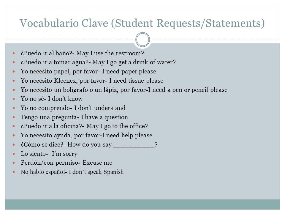 Vocabulario Clave (Student Requests/Statements)