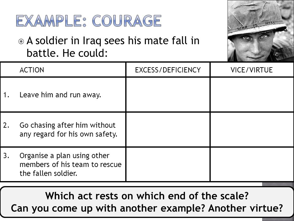 EXAMPLE: Courage A soldier in Iraq sees his mate fall in battle. He could: Leave him and run away.
