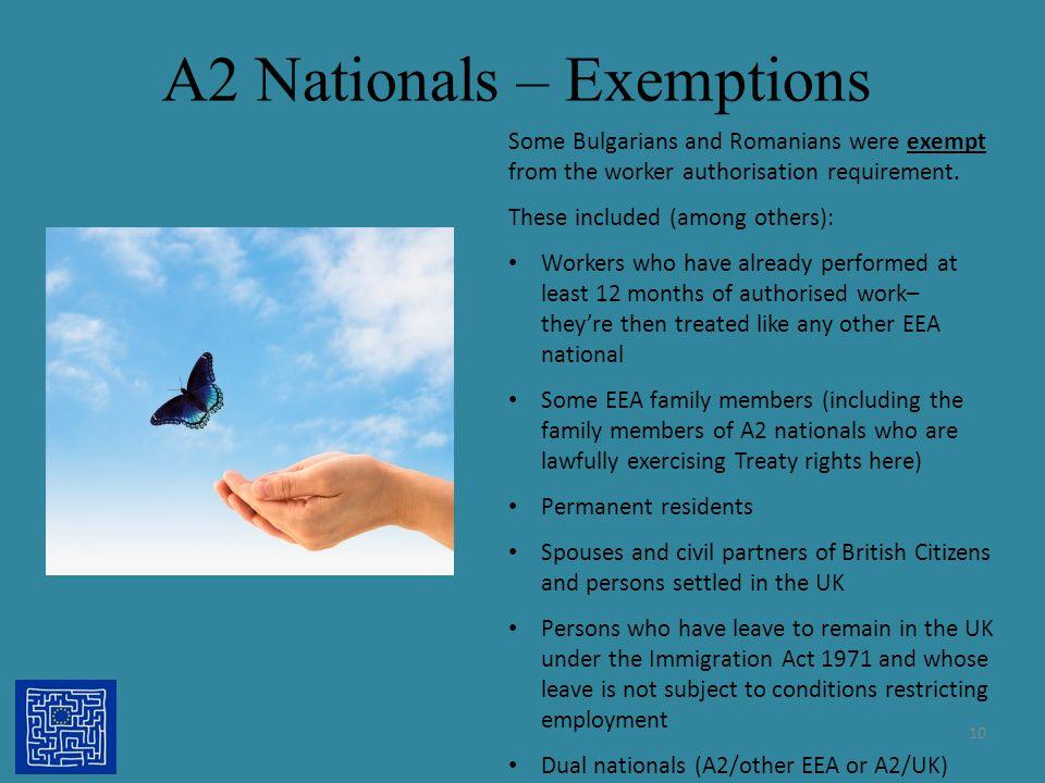 A2 Nationals – Exemptions