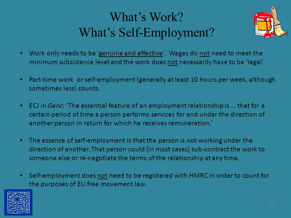 What's Work What's Self-Employment