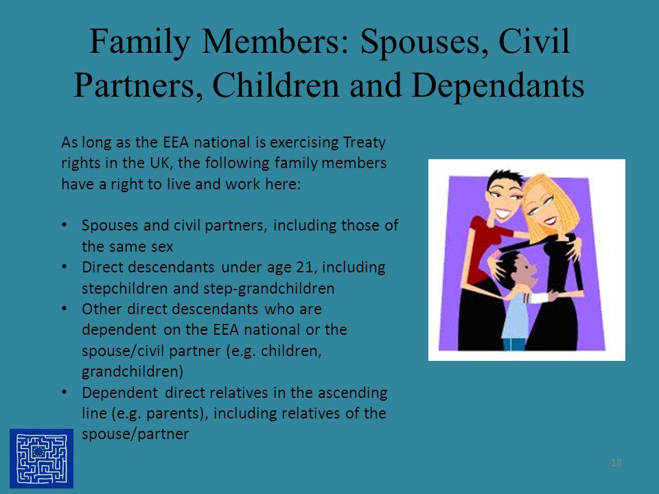 Family Members: Spouses, Civil Partners, Children and Dependants