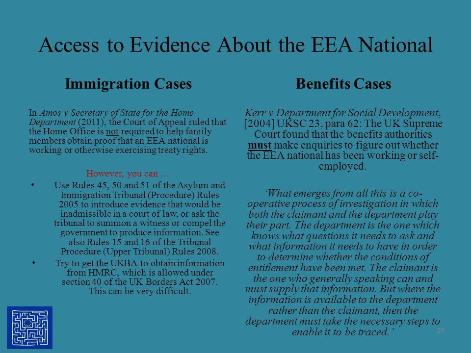 Access to Evidence About the EEA National