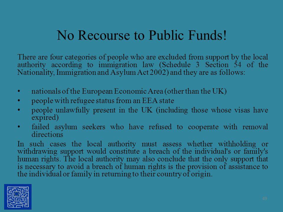 No Recourse to Public Funds!