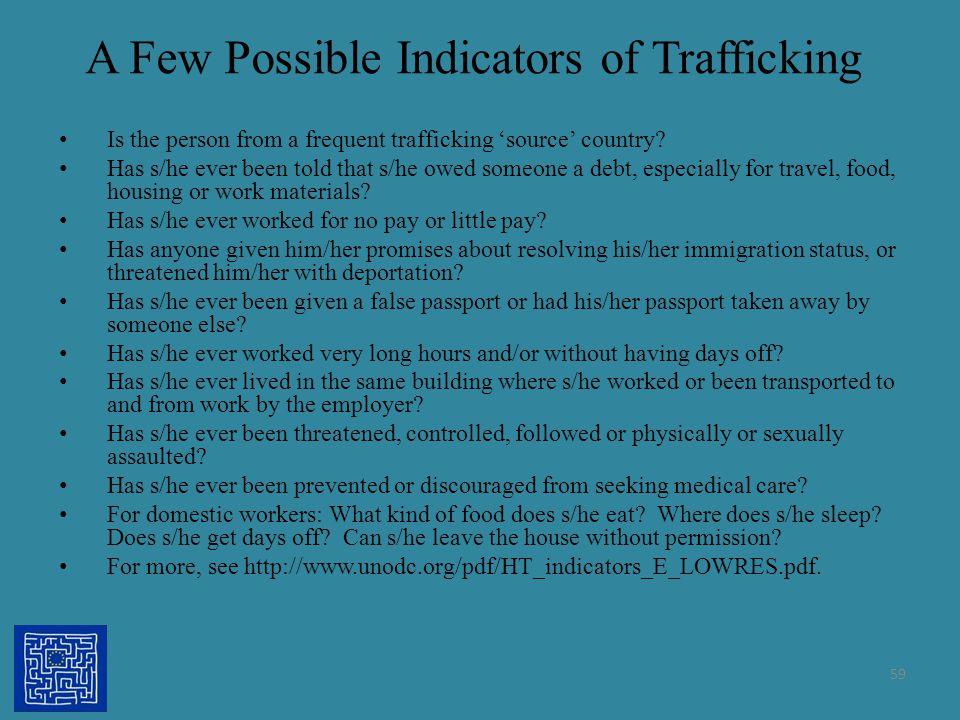 A Few Possible Indicators of Trafficking