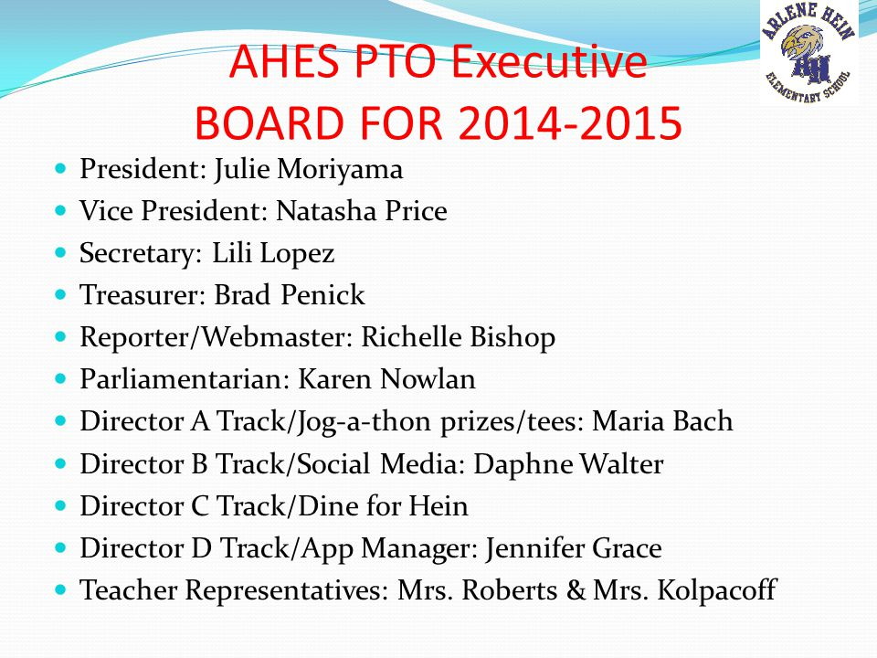 AHES PTO Executive BOARD FOR 2014-2015