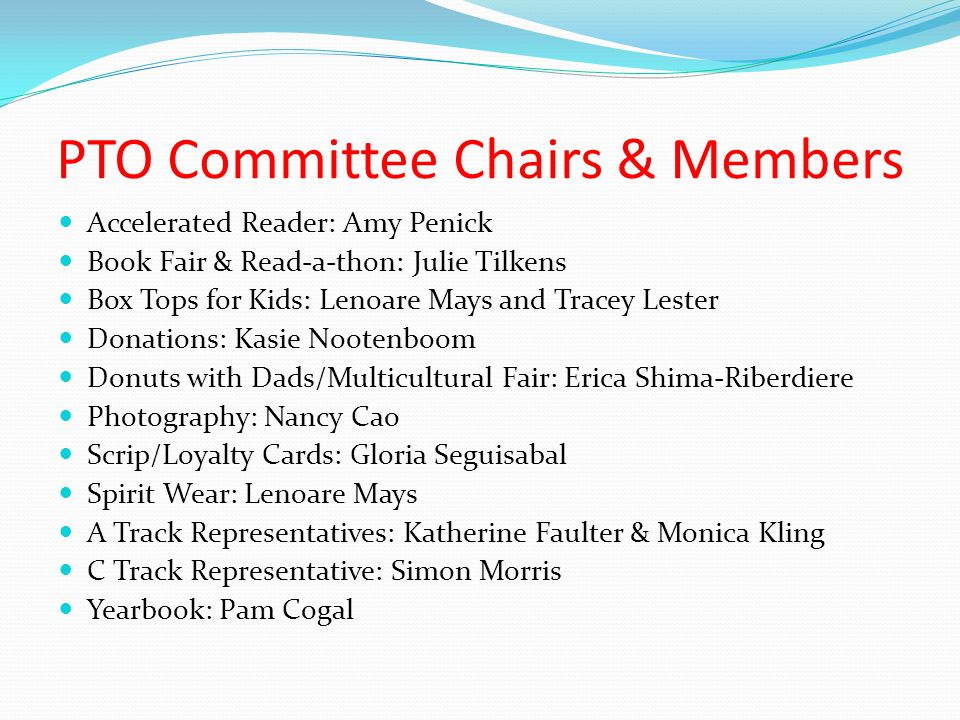 PTO Committee Chairs & Members
