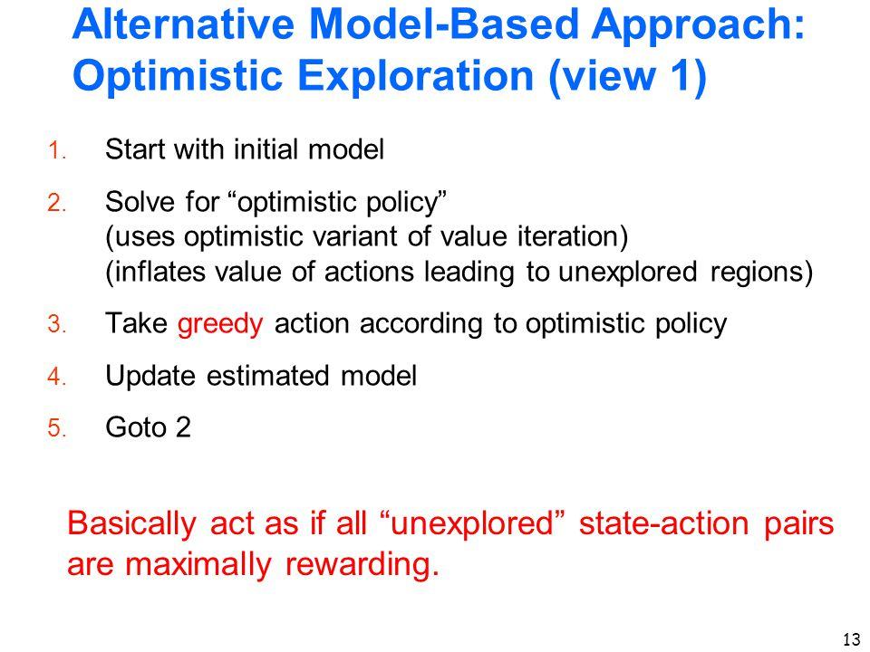 Alternative Model-Based Approach: Optimistic Exploration (view 1)
