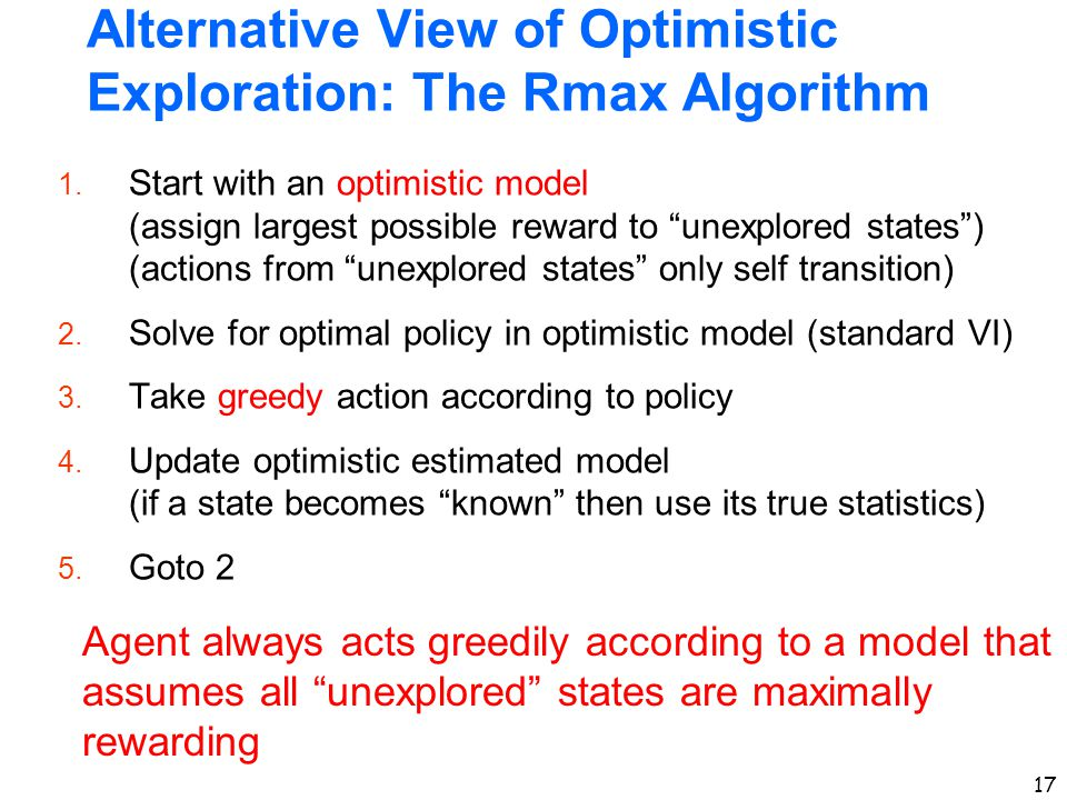 Alternative View of Optimistic Exploration: The Rmax Algorithm