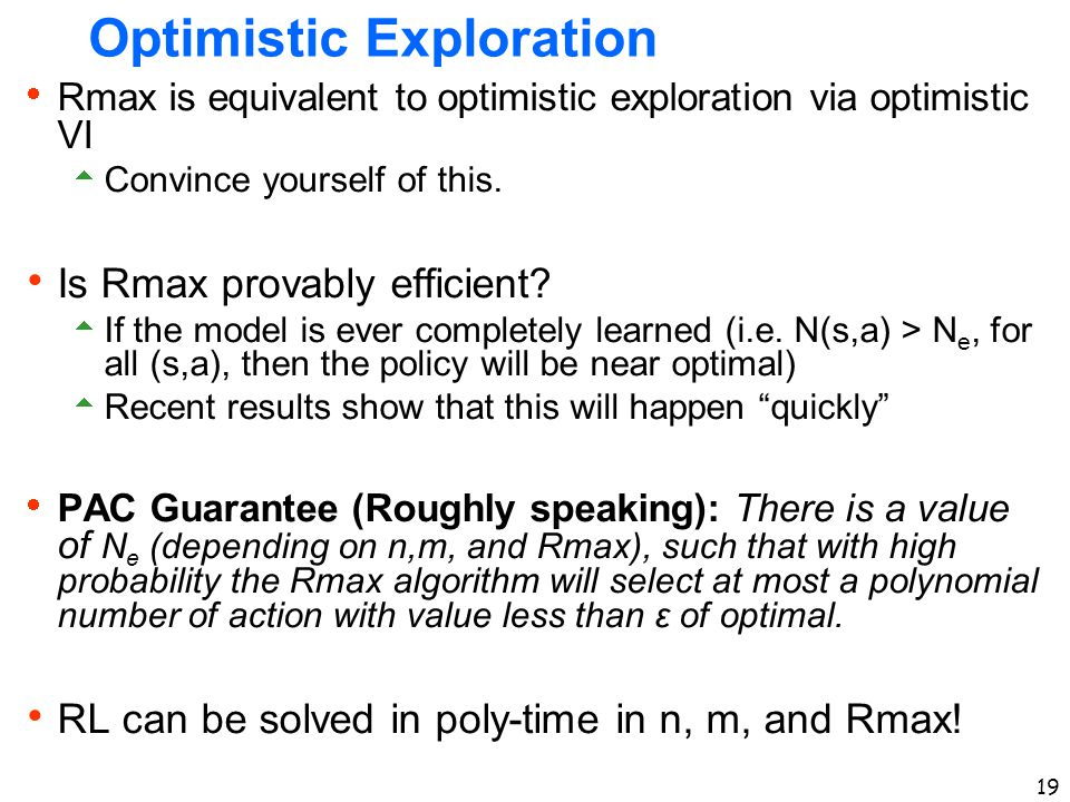 Optimistic Exploration