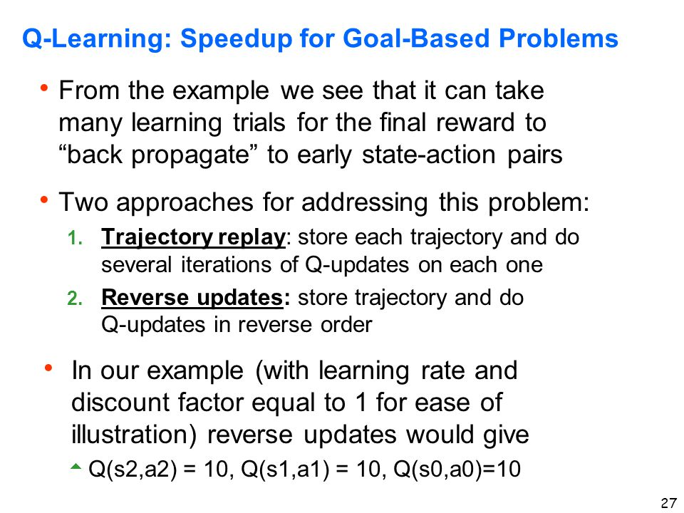 Q-Learning: Speedup for Goal-Based Problems