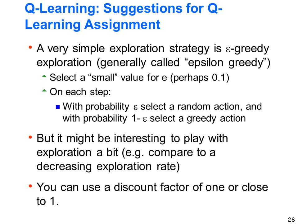 Q-Learning: Suggestions for Q-Learning Assignment