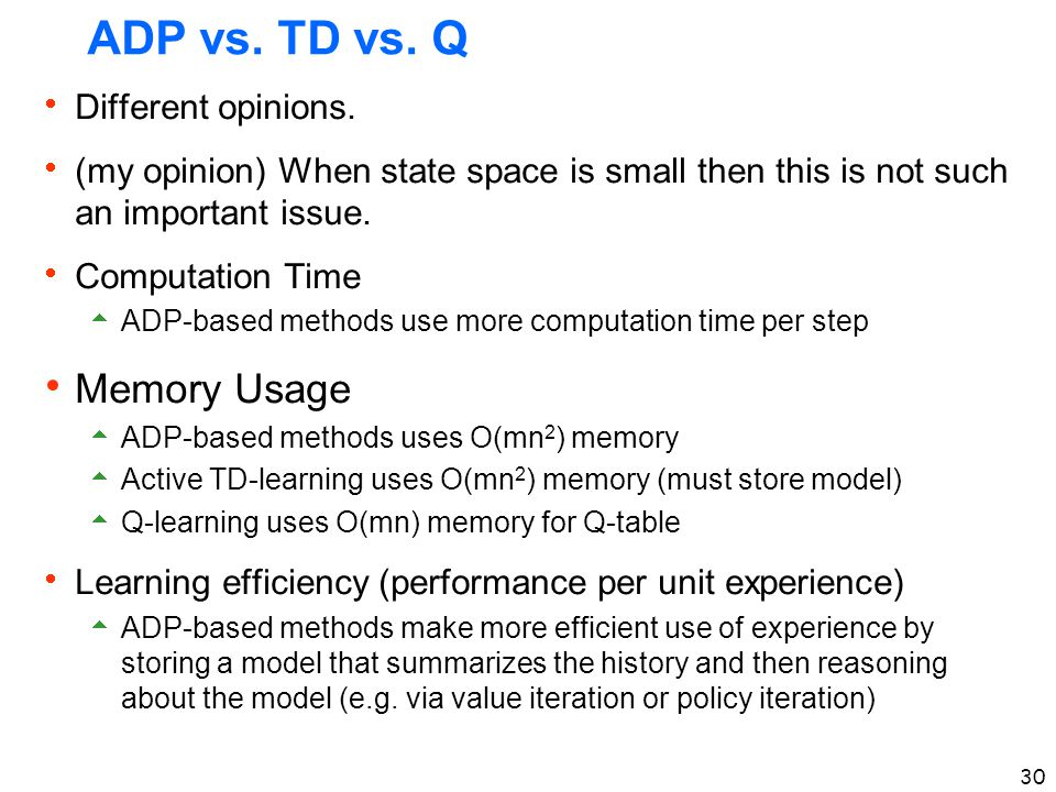 ADP vs. TD vs. Q Memory Usage Different opinions.