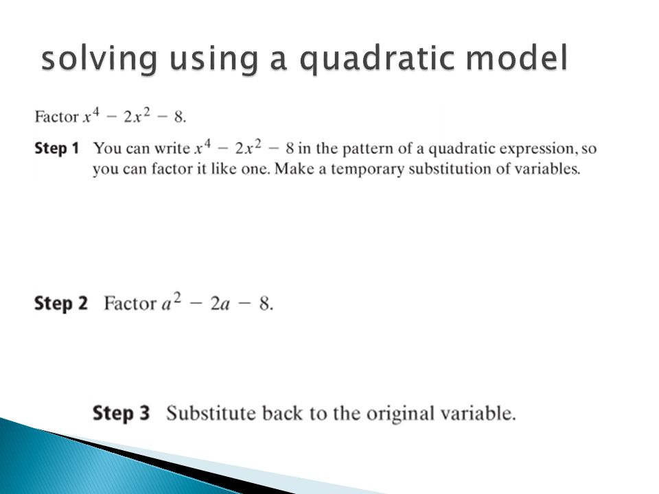 solving using a quadratic model