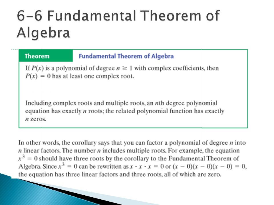 6-6 Fundamental Theorem of Algebra