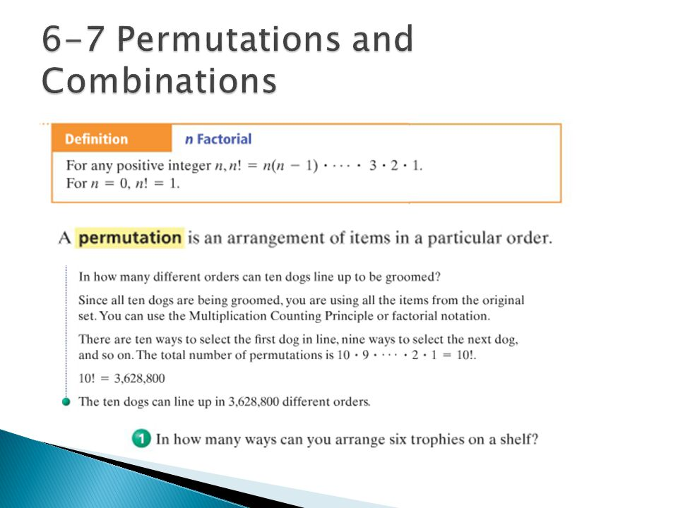 6-7 Permutations and Combinations