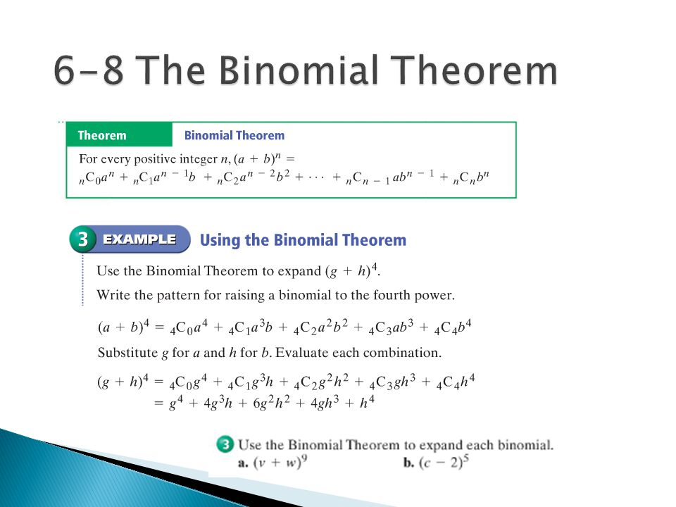 6-8 The Binomial Theorem