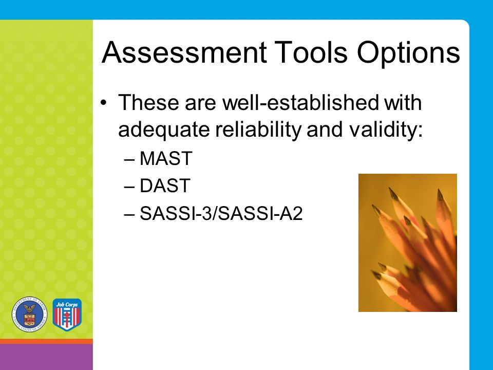 Assessment Tools Options